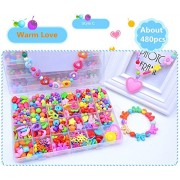 Bead Kit - 24 Grid Warm Love Pattern Make Up Puzzle Handmade Jewelry Making Kits Jewelry Beads Toys for Children Bracelets, Necklace, Early Childhood Education Toys & Perfect Christmas Gift - Jewelry Beads Set Accessories Toys / Beading & Jewellery-Making