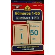 School Zone Bilingual Spanish English Numbers (Numeros) 1-50 Flash Cards Grades P-K
