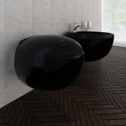 vidaXL Луксозен комплект от тоалетна чиния за стена & биде, черна керамика