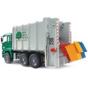 Bruder - 2764 - Véhicules sans piles - Camion Poubelle Man Vert et Blanc avec 2 poubelles