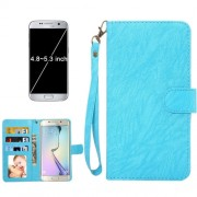 A3 Universal Da Vinci Texture Horizontal Flip Leather Case with Crad Slots & Wallet & Photo Frame & Magnetic Buckle & 18cm Lanyard for Samsung Galaxy S7 & S6 Edge & S6 iPhone 7 & 6s & 6 Huawei P9 & P9 Lite & Honor 8 Size 14.5 x 7.5 x 1.8 cm(Blue)