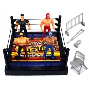 Vt Action Warriors Wrestling Toy Figure Play Set W/ Ring, 4 Toy Figures, Accessories