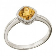 Cushion-Cut Citrine Right Hand Ring in 14K White Gold (6mm)