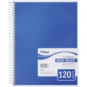 """3 Subject Notebook Spiral Bound 10.5""""X8"""" 120 Sheets/Pad-Wide Ruled White-Assorted Colored Covers"""