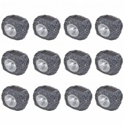 vidaXL Venkovní solární LED bodovky ve tvaru kamene 12 ks