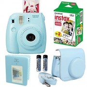 Fujifilm Instax Mini 8 Instant Film Camera Blue + With Fujifilm Instax Mini Instant Film Twin Pack (20 Sheets) + Blue PU leather Case With Photo Album 64 Pockets Blue Value Set Accessories Bundle