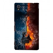 FUSON Acoustic Guitar Fire Water 3D Hard Polycarbonate Designer Back Case Cover for Sony Xperia M4 Aqua :: Sony Xperia M4 Aqua Dual