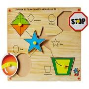 Skillofun Wooden Junior Identification Tray Shapes Around Us II with Knobs, Multi Color
