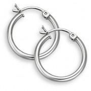 """14K White Gold Hoop Earrings - 3/4"""" diameter (2mm thickness)"""