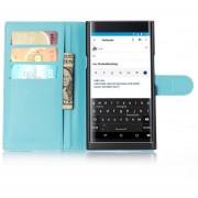 Nuevo superior de la PU carpeta del cuero Cajas protectoras de la cubierta del tirón con el portatarjetas del soporte para Blackberry Priv- Azul