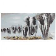 Cuadro ELEFANTES EN MANADA 100x80x3,5 cm, pintado a mano al óleo