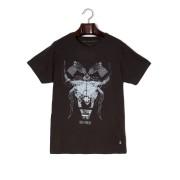 【76%OFF】プリント クルーネック 半袖Tシャツ ブラック m ファッション > メンズウエア~~その他トップス