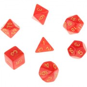 Magideal 7Pcs Multi Sided Dice Trpg Games Dungeons & Dragon D4-D20 Dices - Red
