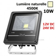 Projecteur led 10W 12-24V DC Noir 4500K IP65