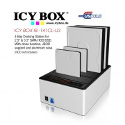 ICY BOX IB-141CL-U3 4 Bay Docking Station for 2.5 Inch & 3.5 Inch SATA HDD/SSD