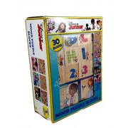 Disney Wood Puzzle Blocks - Create 6 Different Puzzles Including Alphabet and Numbers