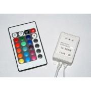 Fényerőszabályzó és vezérlő IR távirányítóval RGB LED szalaghoz , 12VDC 6A/72W (2A/24w/szín) / 24VDC 6A/144W (2A/48w/szín , 12 V DC, LUM30-3200121 Lumen