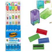 Smencils Scented Pencils Bundle, 5 pack, includes sharpener and magnetic pencil pouch