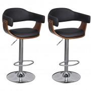 vidaXL Barové výškovo nastaviteľné stoličky s operadlom a opierkou 2ks
