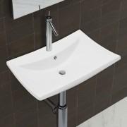 vidaXL Луксозна керамична мивка с преливник и отвор за смесител, правоъгълна