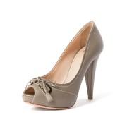 【71%OFF】BUENOS レザー オープントゥ インストーム パンプス フォーン 40 ファッション > 靴~~レディースシューズ