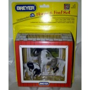Breyer Stablemates Horse & Foal Mini Set with Cardboard Barn - Mini Grey Sabino Pinto Horse & Black