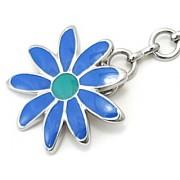 D&G DJ0429 Silver Chain Pendant Necklace Blue Flower Charm