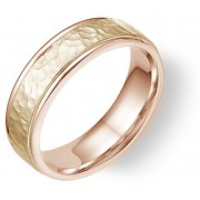 14K Rose and Yellow Gold Hammered Wedding Band Ring