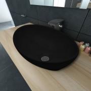 vidaXL Lavatório cerâmica 40 x 33 cm, forma oval / Preto