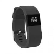 morefit Heart Rate Monitor Fitness Tracker, inalámbrico Bluetooth reloj inteligente saludable pulsera para Navidad regalos de Navidad, 0.07 pounds, 4 Black