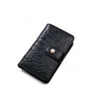 NUCELLE Menší dámská květinová kožená peněženka černá
