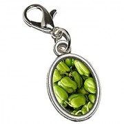 Graphics and More Green Bell Peppers Vegetables - Chef Farmer Antiqued Bracelet Pendant Zipper Pull Oval Charm with Lobster Clasp