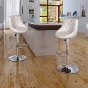vidaXL Комплект бар столове 2 броя, цвят бял