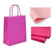 MustBeBonkers! Set di 10 sacchetti regalo con velina, ideali per Natale, feste, compleanni, colore: rosa