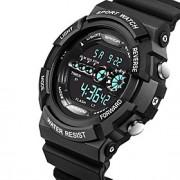 Masculino Relógio Esportivo Quartzo Japonês LCD / Calendário / Impermeável / alarme / Luminoso / Cronômetro Borracha Banda Legal Preta