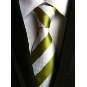 Zöld - fehér csíkos nyakkendő
