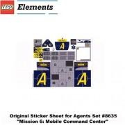"Lego Original Sticker Sheet For Agents Set #8635 ""Mission 6: Mobile Command Center"" Sheet 1 Of 2"