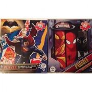 Batman vs. Superman Wonder Woman and Spiderman Puzzles 48 100 Pieces Ages 6+ Bundle of 2 Puzzles for Boys Superheroes v-2