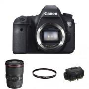 Canon EOS 6D Body Fotocamera Reflex Digitale, 20.2 Megapixel, Nero + Canon EF 16-35mm f/4L IS USM Obiettivo Ultragrandangolare con Zoom, Nero/Antracite + Canon Filtro Protettivo da 77 mm + Canon 1Eg Borsa Professionale