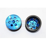 Aluminium+ Plastic Beadlock Weighted Wheels With Weight Holder & Bearings Suitable For All 2.2'' Tires - 1Pr Set Blue
