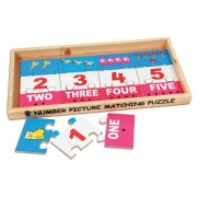 Skillofun Wooden Number Picture Matching Puzzle Strips, Multi Color