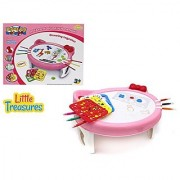 Little Treasures Cute Kitty Shaped Painting WordPad table for Kids to Trace & Draw - Includes many style Stencils with various shapes & forms great learn and play markers Educational kit