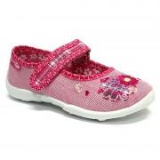 Incaltaminte fetite, din material textil, roz, cu floricele brodat