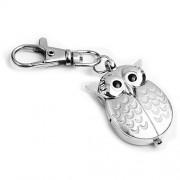 Eule Schlüsselanhänger Schlüsselring 40X25mm Silber Uhr