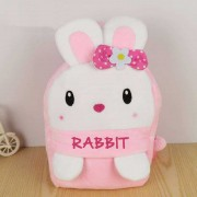 Cute Pink and White Rabbit Baby Bag Stuffed Soft Plush Toy