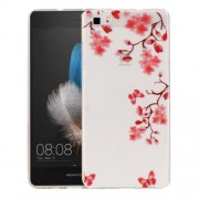 Huawei P8 Lite Maple Leaves Pattern IMD Workmanship Soft TPU Protective Case