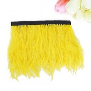 Ostrich Feather Dyed Fringe 1 Yard Trim Yellow