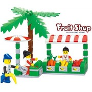Fruit Shop Commercial Street 114 Pcs Building Blocks Sea Side Souk Stalls Set With Fruits, Veggies, Money, Customer And Sales People Excellent Tool To Help 6+ Buyer Learn In Lego Compatible Parts