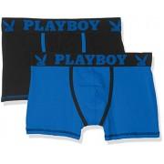 Playboy 40H041, Calzoncillos Para Hombre, Multicolor (Noir Bleu/Bleu), Medium, Pack de 2