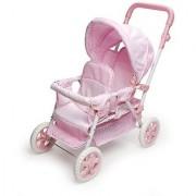 Badger Basket Folding Double Doll Front-to-Back Stroller - Pink Gingham (fits American Girl dolls)